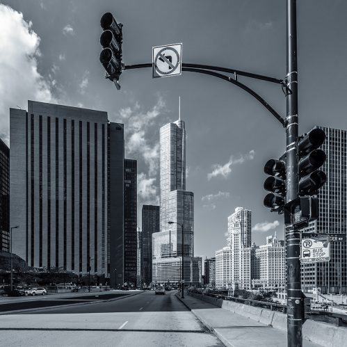 Black And White Picture Of Chicago Street, Usa.