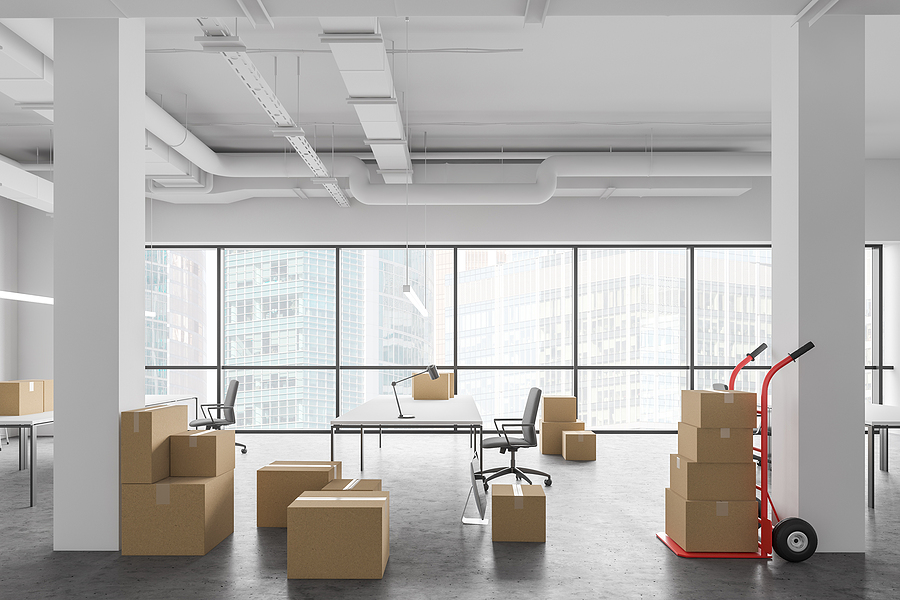 Boxes In New Open Space Office, Relocation